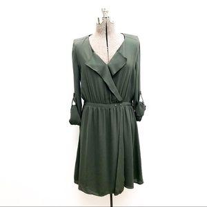 Army Green V Neck Faux Wrap Dress - L
